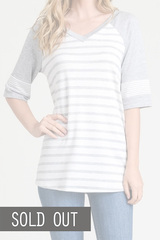 Grey & White Stripe Top