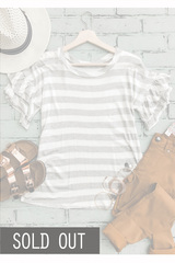 G+W Stripe Flutter Sleeve Tee
