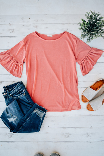 Grapefruit Flutter Sleeve Top