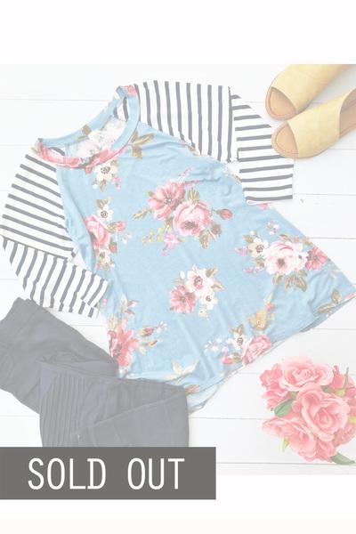 Blue Floral & Stripes Top
