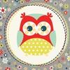 00557 owl polka dot mint6inch