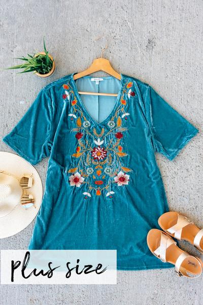 Blue Velvet Embroidered Top