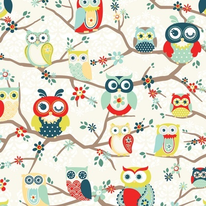 Perched Owls Mint Fabric