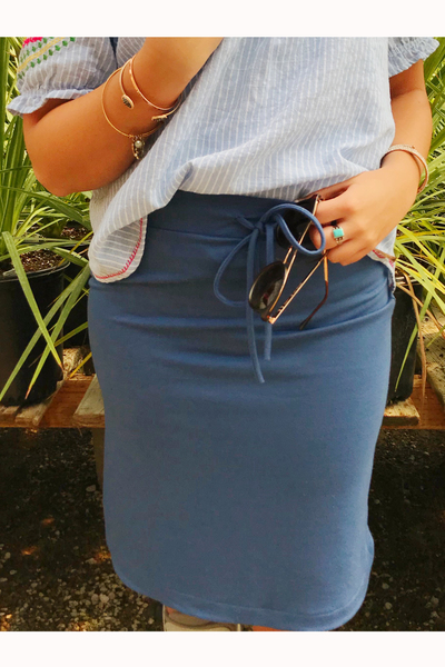 Denim Blue Tie Skirt