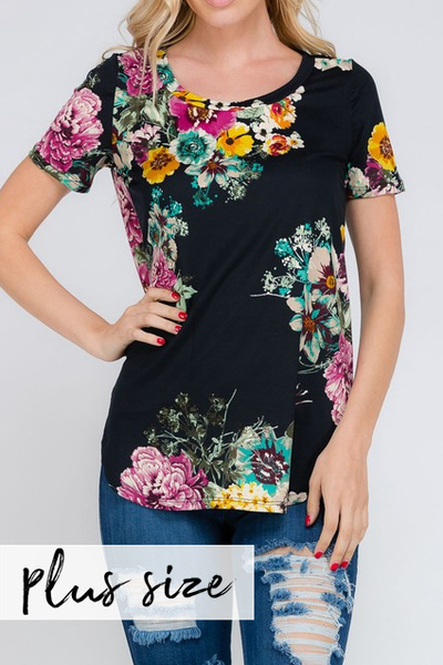 PLUS Black Scatter Floral Tee