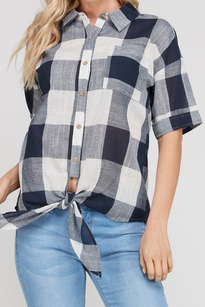 Navy Plaid Tie Top