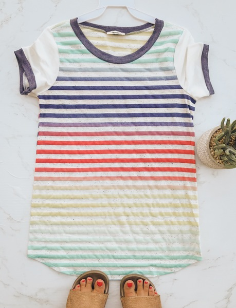 Color Vibe Stripe Tee