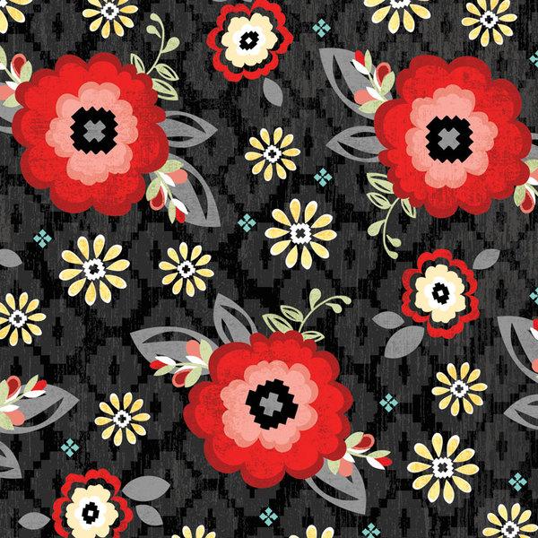 You & Me Blossom Black Fabric
