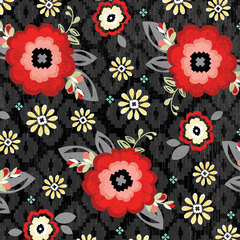 You & Me Blossom Black Fabric