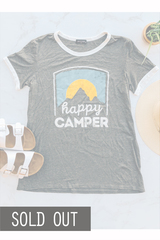 Grey Happy Camper Tee