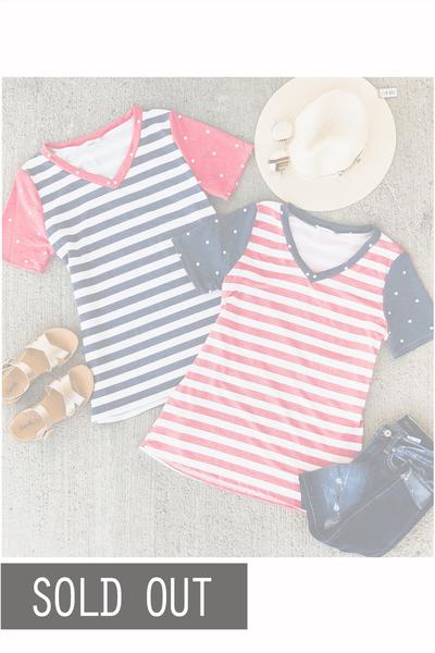 Stripe & Polka Tee