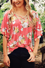 Coral Becca Floral Blouse