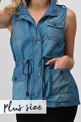 PLUS Denim Utility Vest