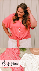 PLUS Waffle Button Tie Top