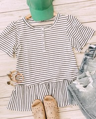B&W Striped Button Peplum