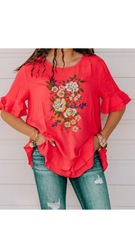 Red Ella Embroidered Top