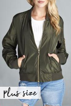 PLUS Olive Bomber Jacket