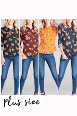 PLUS Floral Bailee Button Up