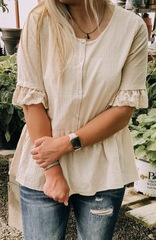 Ivory Lace Trim Sleeves Blouse