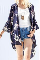 Navy Ruffle Sleeve Kimono