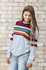 Maroon Rainbow Pullover