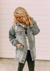 Distress Long Denim Jacket