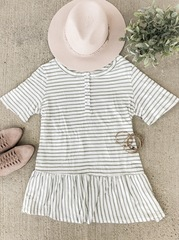 Sage & White Striped Peplum