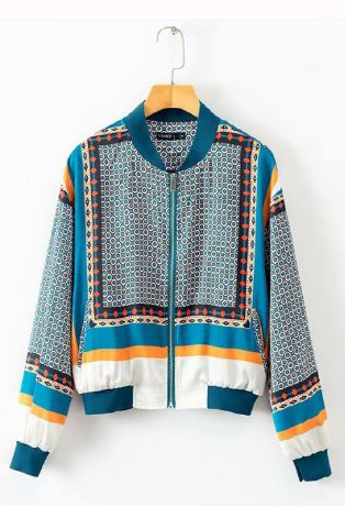 Giselle Pattern Bomber Jacket