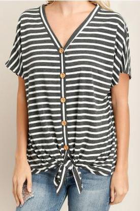 Lyra Stripe Button Down Tie Top