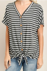 Lyra Stripe Button Down Tie Top