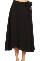 Black Waverly Wrap Skirt