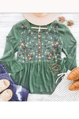 Green Bayla Embroider Blouse
