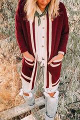 Maroon Varsity Stripe Cardigan