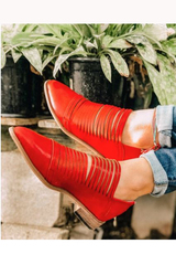 Red Slit Booties