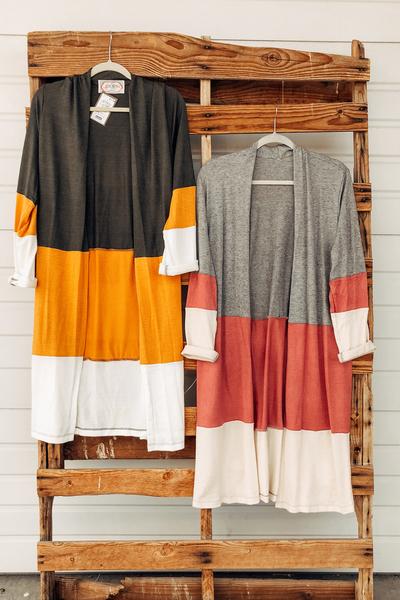 Colorblock Maxi Cardigans