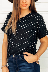Black Polka Dot V-neck