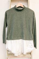 Olive Knit Turtleneck Peplum