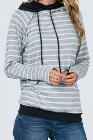 Grey & White Stripes Hoodie