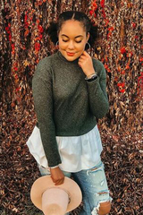 Olive Knit Turtleneck Peplum