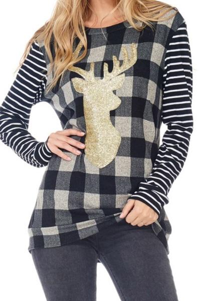 Reindeer Plaid Sweater