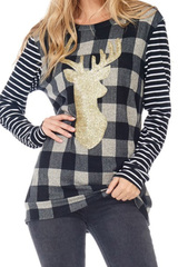 Reindeer Plaid Sweater