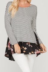 PLUS Black Floral Accent Top