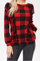 Hensley Plaid & Ruffle Top