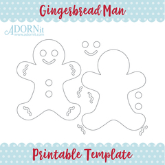 Gingerbread Man - Printable Template Instant Digital Download