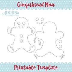 Gingerbread Man - Printable Template Instant Digital Download