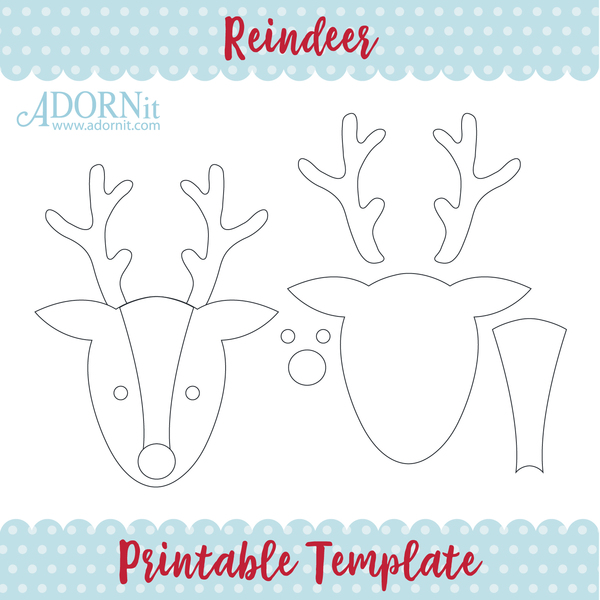 photo relating to Reindeer Printable called Reindeer - Printable Template Instantaneous Electronic Obtain - Adornit