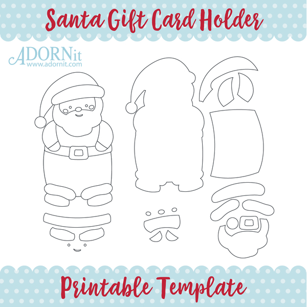 Santa Gift Card Holder - Printable Template Instant Digital Download