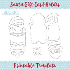 Santa Gift Card Holder - Printable Template Instant Digital Download