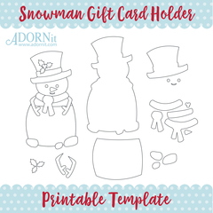 Snowman Gift Card Holder - Printable Template Instant Digital Download