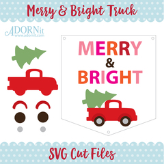 Merry & Bright Christmas Truck - Instant Digital Download SVG File